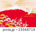 鶴 富士山 赤富士のイラスト 23048719
