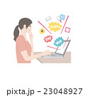 パソコン 女性 イラスト 23048927