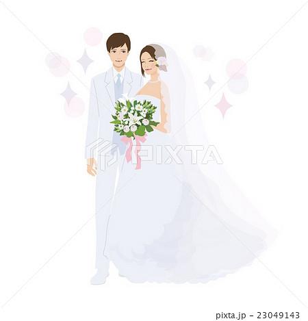 結婚式 イラスト ウエディングドレス 新郎新婦 のイラスト素材 23049143