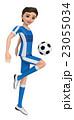 ユニフォームを着た二人の少年がサッカーボールを蹴っている。 23055034