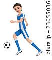 ユニフォームを着た二人の少年がサッカーボールを蹴っている。 23055036