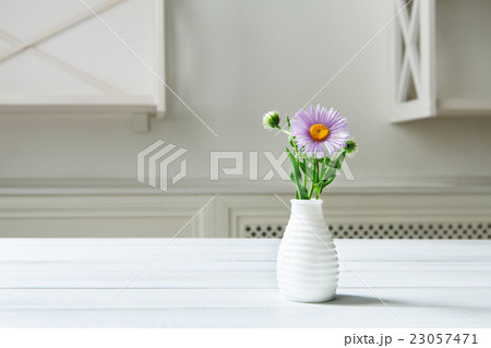 Aster amellus flower bouquet at white tableの写真素材 [23057471] - PIXTA