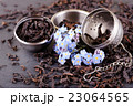 Opened tea strainer next to blue flower and tea 23064565