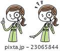 作業服の女性 虫眼鏡 23065844
