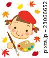 芸術の秋 絵を描く女の子 23066652