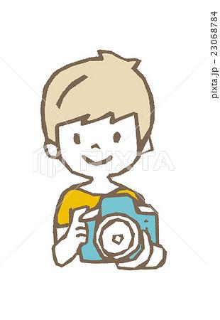 男の子とカメラ【線画・シリーズ】 23068784