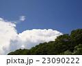 新緑の森林から空高く発達した真夏の象徴入道雲積乱雲晴天青空の背景イメージ完成予想図パース素材 23090222