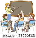 一緒に英語の勉強しよう♪(先生と生徒+黒板) 23090583