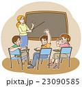 一緒に英語の勉強しよう♪(先生と生徒+黒板+背景) 23090585