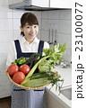 キッチンで沢山の野菜を持つ笑顔の女性    23100077