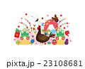 年賀状素材 雄鶏 にわとりのイラスト 23108681