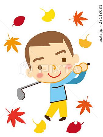 スポーツの秋 ゴルフをする男性のイラスト素材 23113081 Pixta