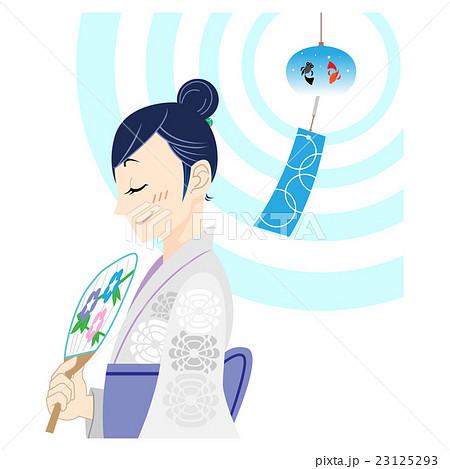 風鈴の音で涼む女性 23125293