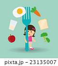 ヘルシーフード ヘルシー料理 女の子のイラスト 23135007