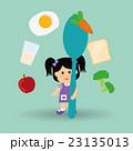 ヘルシーフード ヘルシー料理 女の子のイラスト 23135013