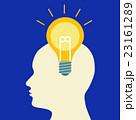 ひらめきの電球とアイディアと思考回路 Light bulb of Idea in head 23161289