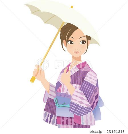がんばるオンナノコ 浴衣+日傘 23161813