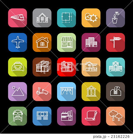 Real estate flat line icons with long shadow 23162226