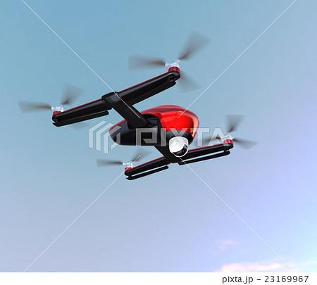 空を飛ぶ赤色のドローン 23169967