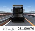 高速道路に走行するハイブリッドトラックの正面イメージ 23169979