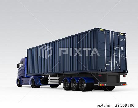 メタリックブルーのトラックが紺色のコンテナを運ぶ 23169980