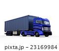 メタリックブルーのトラックが紺色のコンテナを運ぶ 23169984