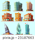 Distinctive  modern and  old  buildings icons set  23187663