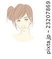 女性のイラスト(茶髪セミロング)サイドおだんごヘア 23207869
