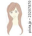 女性のイラスト(茶髪ロングヘア)ゆるウェーブ 23207870