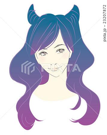 女性のイラストロングヘアゆるウェーブ悪魔女かわいいハロウィンヘア