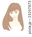 女性のイラスト(茶髪ロングヘアストレート)縮毛矯正 23207873