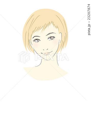 女性のイラスト茶髪明るめベリーショートゆるふわ系女子のイラスト