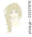 女性のイラスト(茶髪明るめロングヘア)ゆるふわ三つ編み 23207876