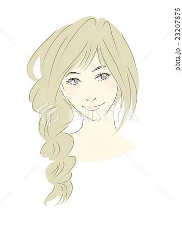 女性のイラスト茶髪明るめロングヘアゆるふわ三つ編みのイラスト素材
