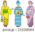 ポップな浴衣姿の女性たち 23208064