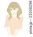 女性のイラスト(茶髪セミロング)ゆるふわ 23208296