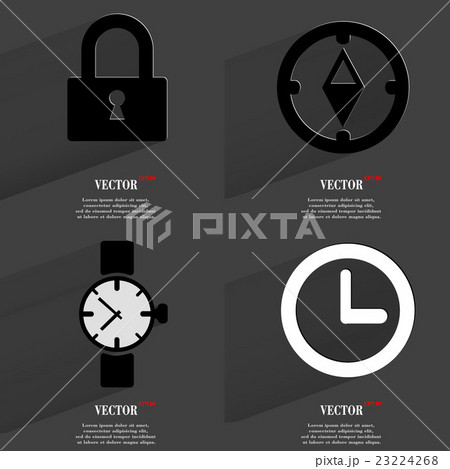 Set of fashionable icons, trending symbols. Flat dのイラスト素材 [23224268] - PIXTA