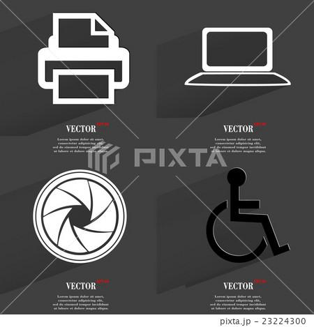 Set of fashionable icons, trending symbols. Flat dのイラスト素材 [23224300] - PIXTA