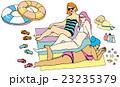 ビーチでくつろぐ女の子セット 23235379