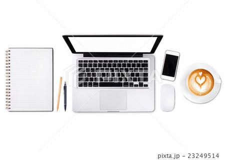 Top view laptop computer or notebook,mobile phoneの写真素材 [23249514] - PIXTA
