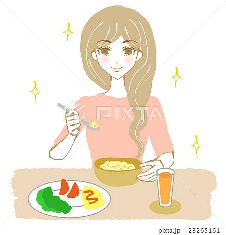 健康的な食事をとる女性(キラキラ) 23265161