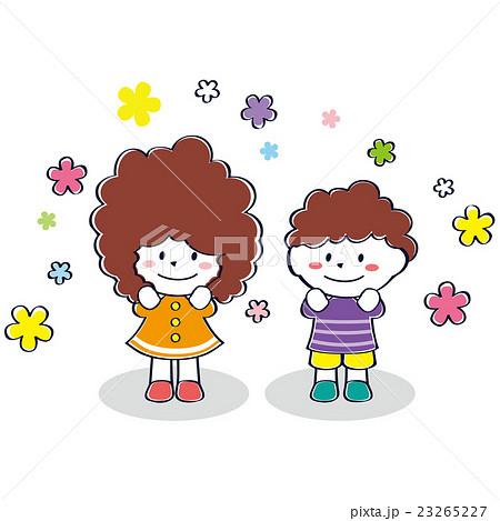 かわいい子供 ふわふわの赤髪の笑顔男女のイラスト素材 23265227 Pixta
