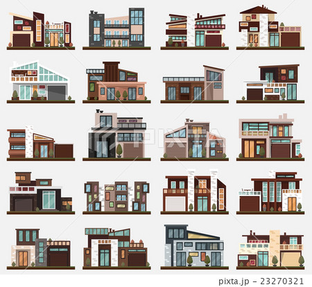 modern houses or buildings with garage and bushesのイラスト素材