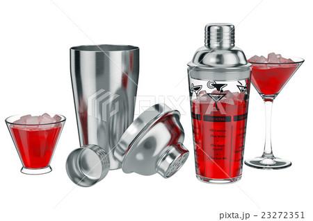 Cocktail shaker liquid inside, open viewのイラスト素材 [23272351] - PIXTA