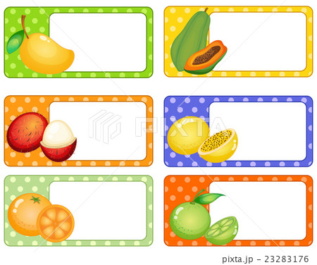 square labels with tropical fruitsのイラスト素材 23283176 pixta
