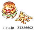 チーズバーガーとポテトのイラスト 23286602