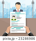 Recruiters hands holding cv and candidate i 23286986