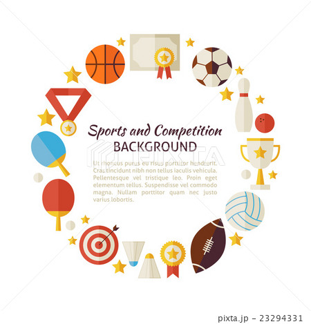 flat style circle template of sport recreationのイラスト素材