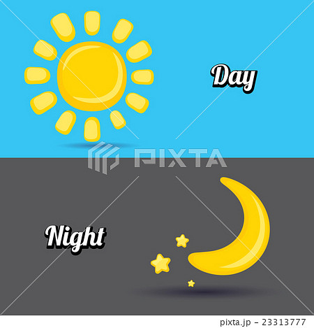 sun and moon in sky day and night vectorのイラスト素材 23313777