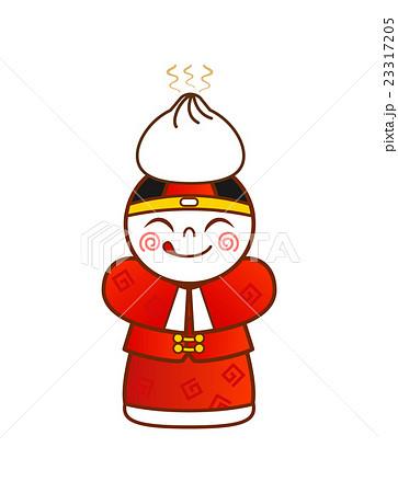 頭に肉まんを乗せた中国伝統衣装の男の子 23317205